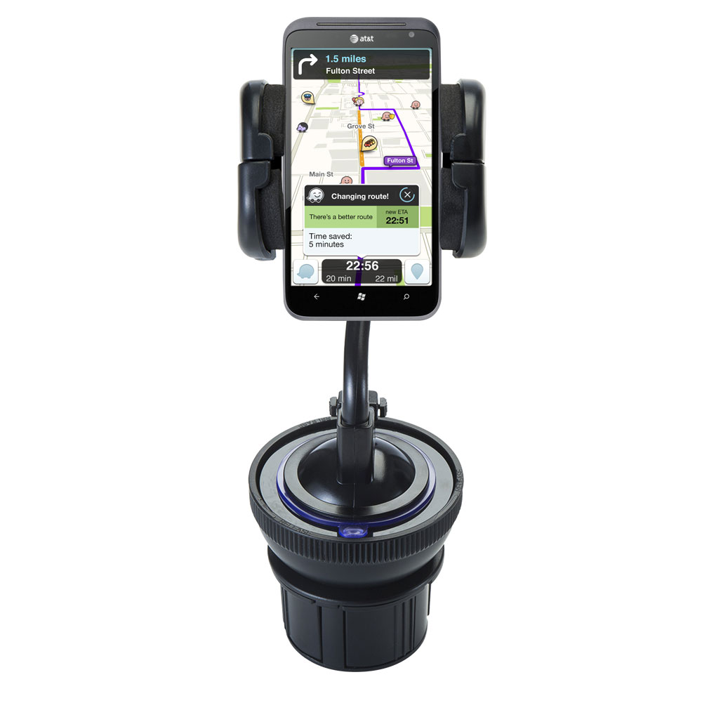 Unique Auto Cupholder and Suction Windshield Dual Purpose Mounting System for HTC Titan - Flexible Holder System Includes Two Mount Options