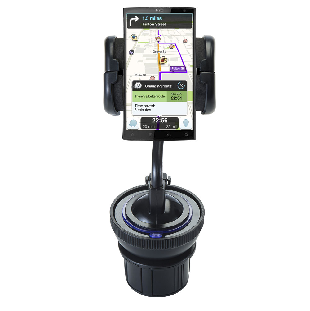 Unique Auto Cupholder and Suction Windshield Dual Purpose Mounting System for HTC Zeta - Flexible Holder System Includes Two Mount Options