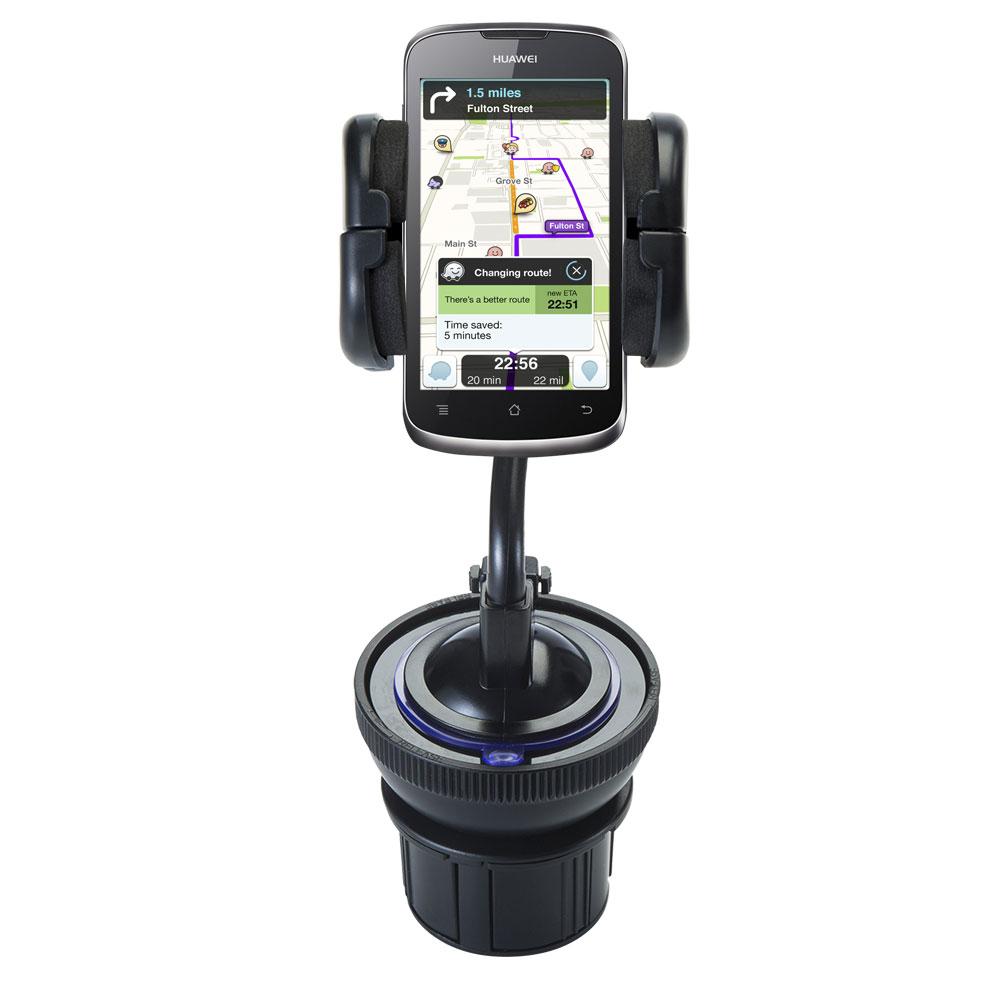 Unique Auto Cupholder and Suction Windshield Dual Purpose Mounting System for Huawei U8815 - Flexible Holder System Includes Two Mount Options