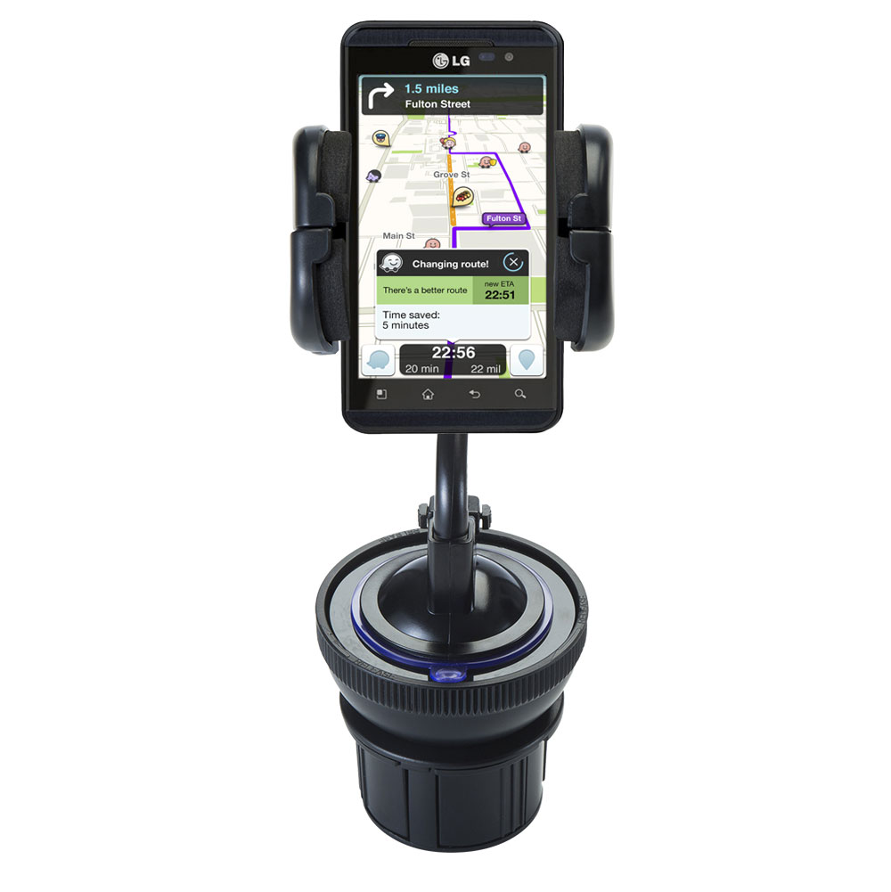 Unique Auto Cupholder and Suction Windshield Dual Purpose Mounting System for LG Thrill 4G - Flexible Holder System Includes Two Mount Options