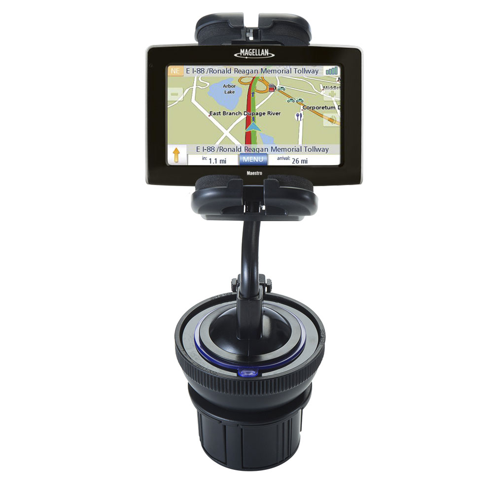 Unique Auto Cupholder and Suction Windshield Dual Purpose Mounting System for Magellan Maestro 4250 - Flexible Holder System Includes Two Mount Options