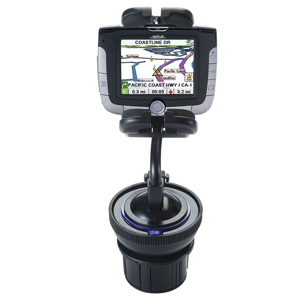 Unique Auto Cupholder and Suction Windshield Dual Purpose Mounting System for Magellan Roadmate 3000T - Flexible Holder System Includes Two Mount Options