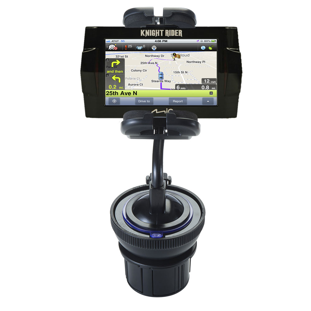Unique Auto Cupholder and Suction Windshield Dual Purpose Mounting System for Mio Knight Rider - Flexible Holder System Includes Two Mount Options