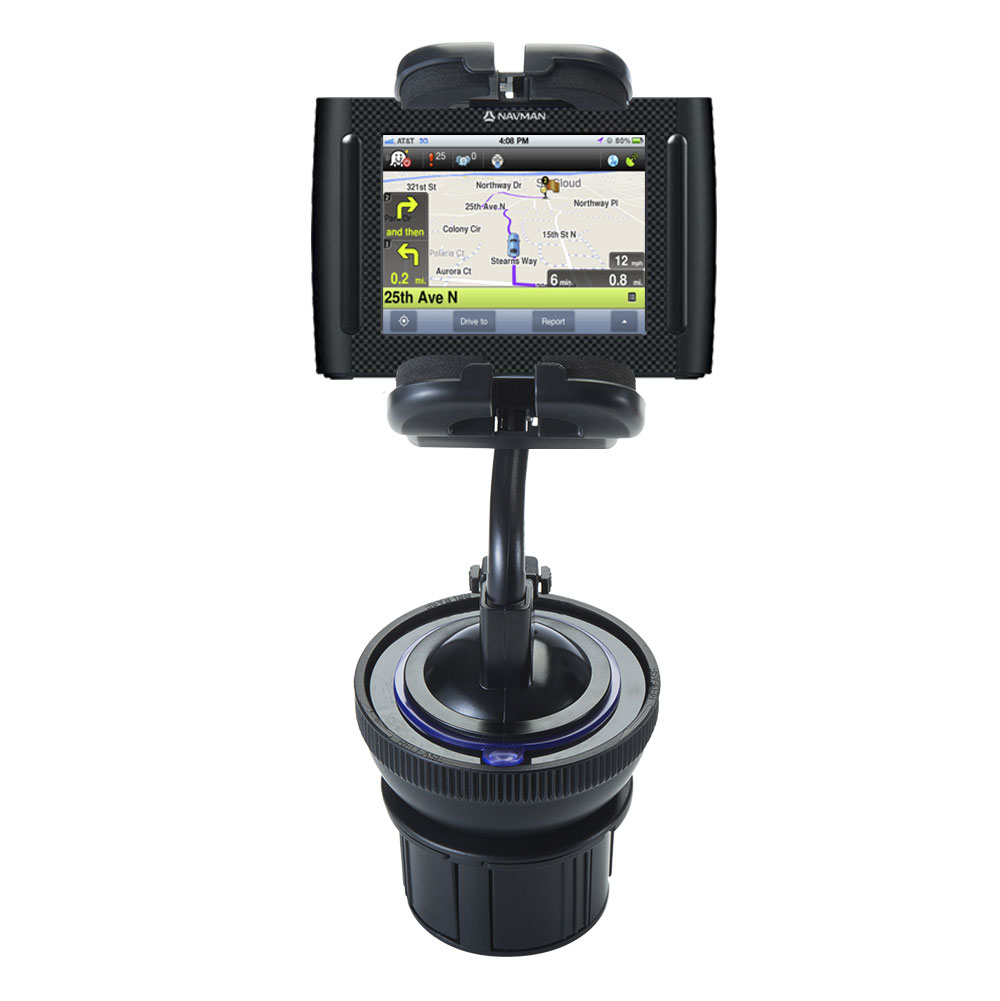 Unique Auto Cupholder and Suction Windshield Dual Purpose Mounting System for Navman F35 - Flexible Holder System Includes Two Mount Options