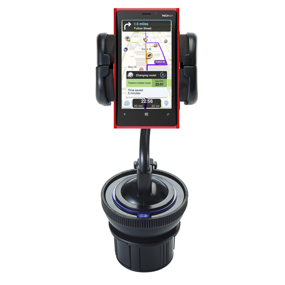Unique Auto Cupholder and Suction Windshield Dual Purpose Mounting System for Nokia Lumia 920 - Flexible Holder System Includes Two Mount Options