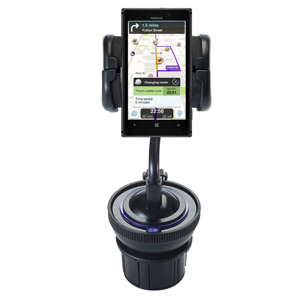 Unique Auto Cupholder and Suction Windshield Dual Purpose Mounting System for Nokia Lumia 925 - Flexible Holder System Includes Two Mount Options