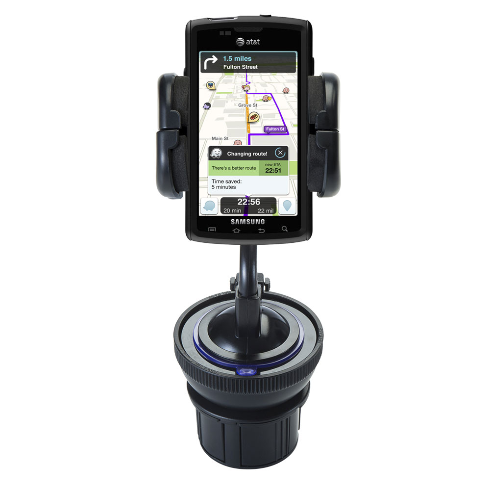 Unique Auto Cupholder and Suction Windshield Dual Purpose Mounting System for Samsung Captivate - Flexible Holder System Includes Two Mount Options