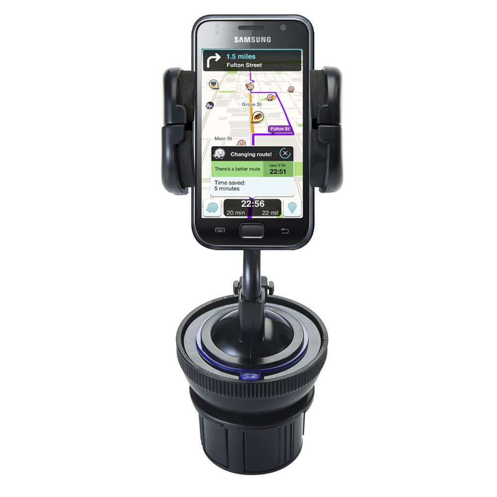 Unique Auto Cupholder and Suction Windshield Dual Purpose Mounting System for Samsung Galaxy S - Flexible Holder System Includes Two Mount Options