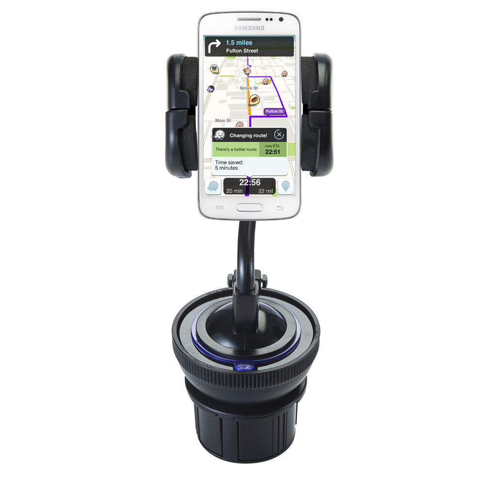 Unique Auto Cupholder and Suction Windshield Dual Purpose Mounting System for Samsung Galaxy S III - Flexible Holder System Includes Two Mount Options