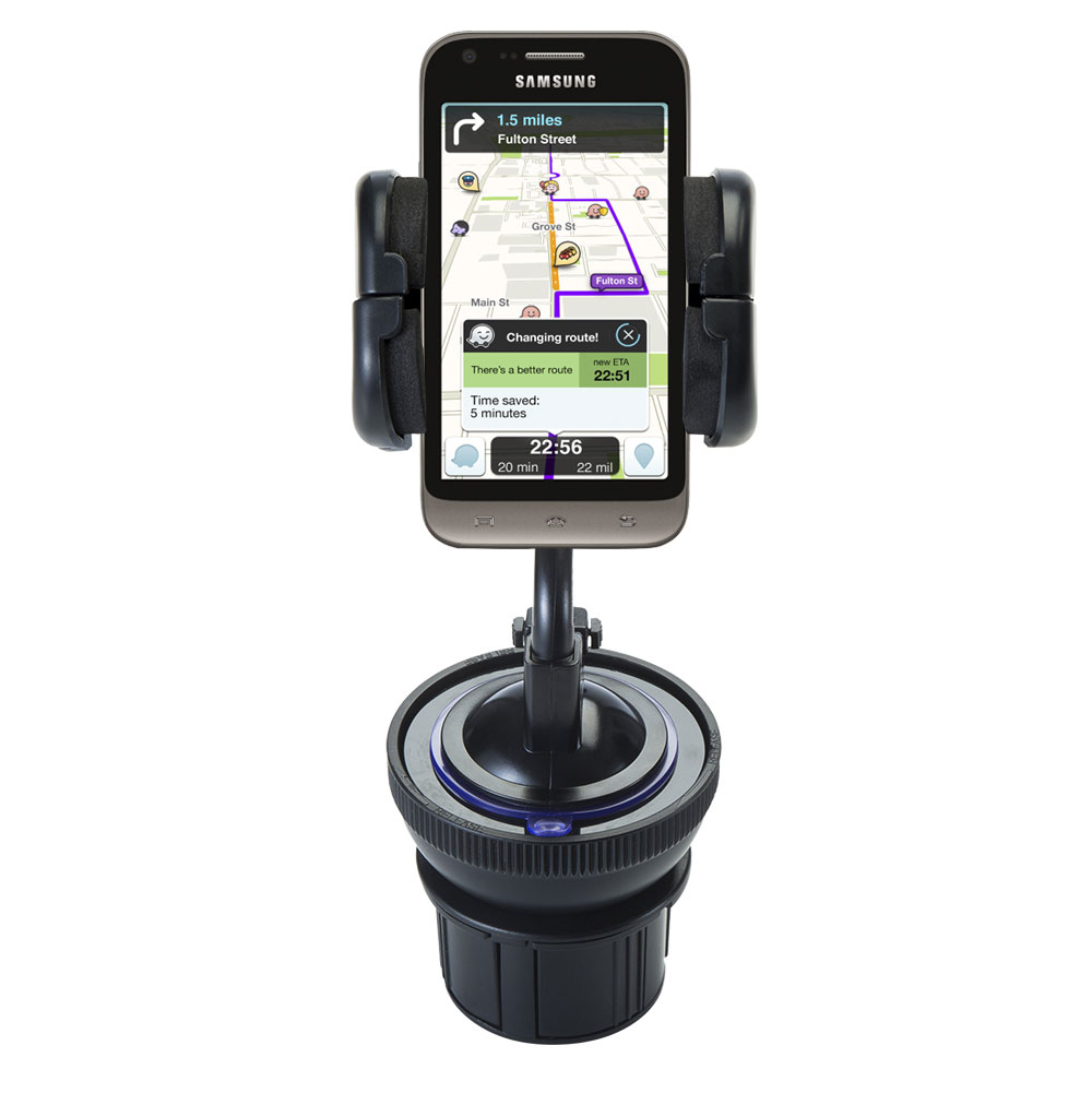 Unique Auto Cupholder and Suction Windshield Dual Purpose Mounting System for Samsung Galaxy Victory - Flexible Holder System Includes Two Mount Options