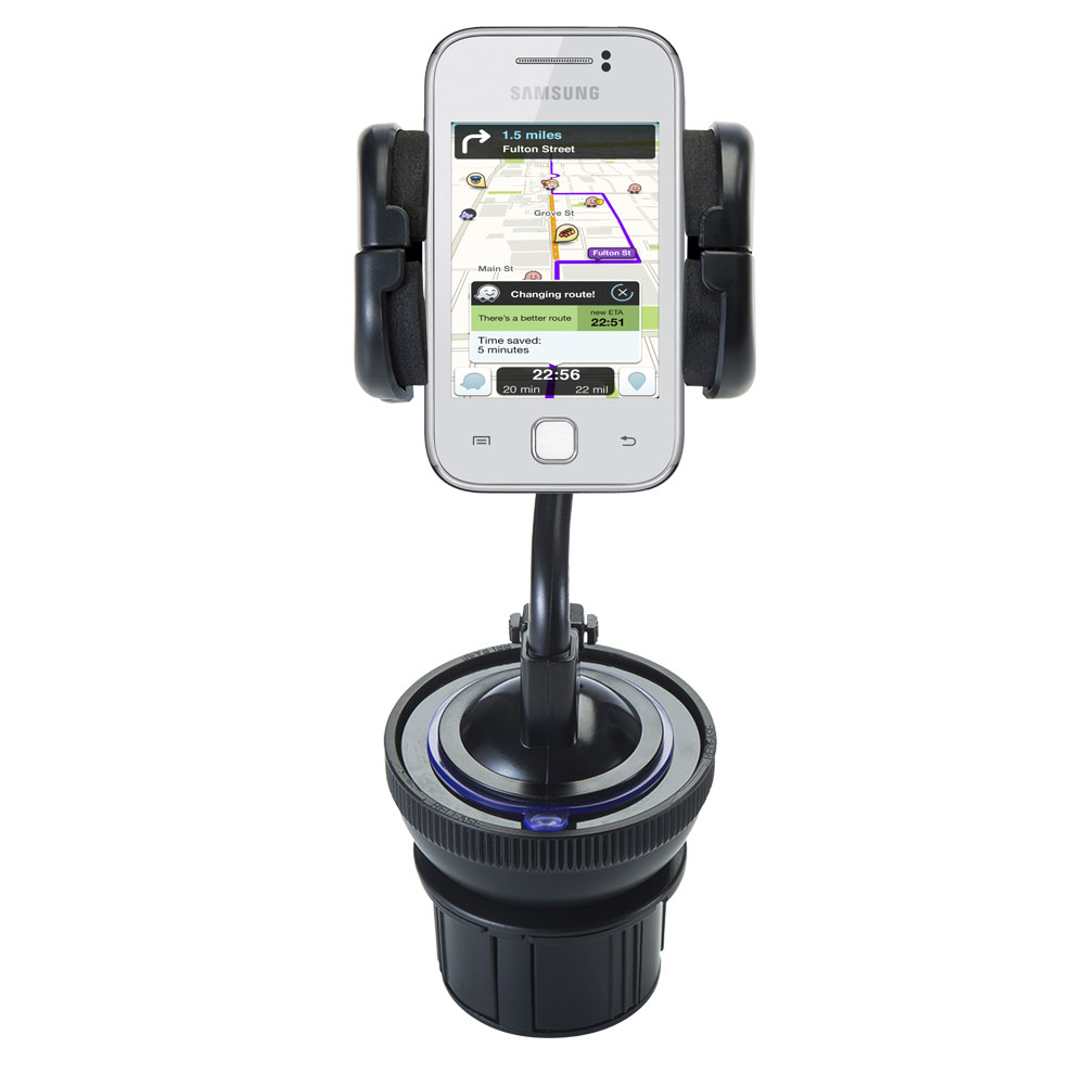 Unique Auto Cupholder and Suction Windshield Dual Purpose Mounting System for Samsung Galaxy Y - Flexible Holder System Includes Two Mount Options