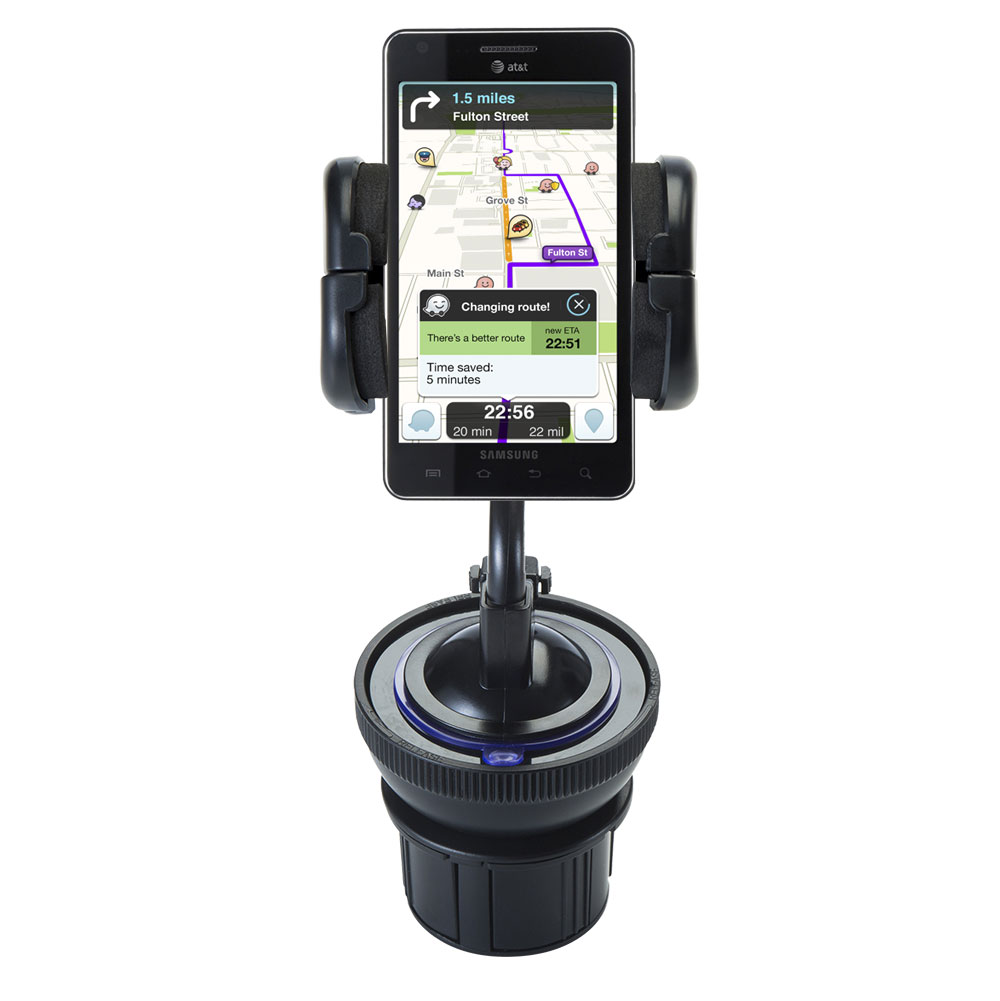 Unique Auto Cupholder and Suction Windshield Dual Purpose Mounting System for Samsung Infuse 4G - Flexible Holder System Includes Two Mount Options