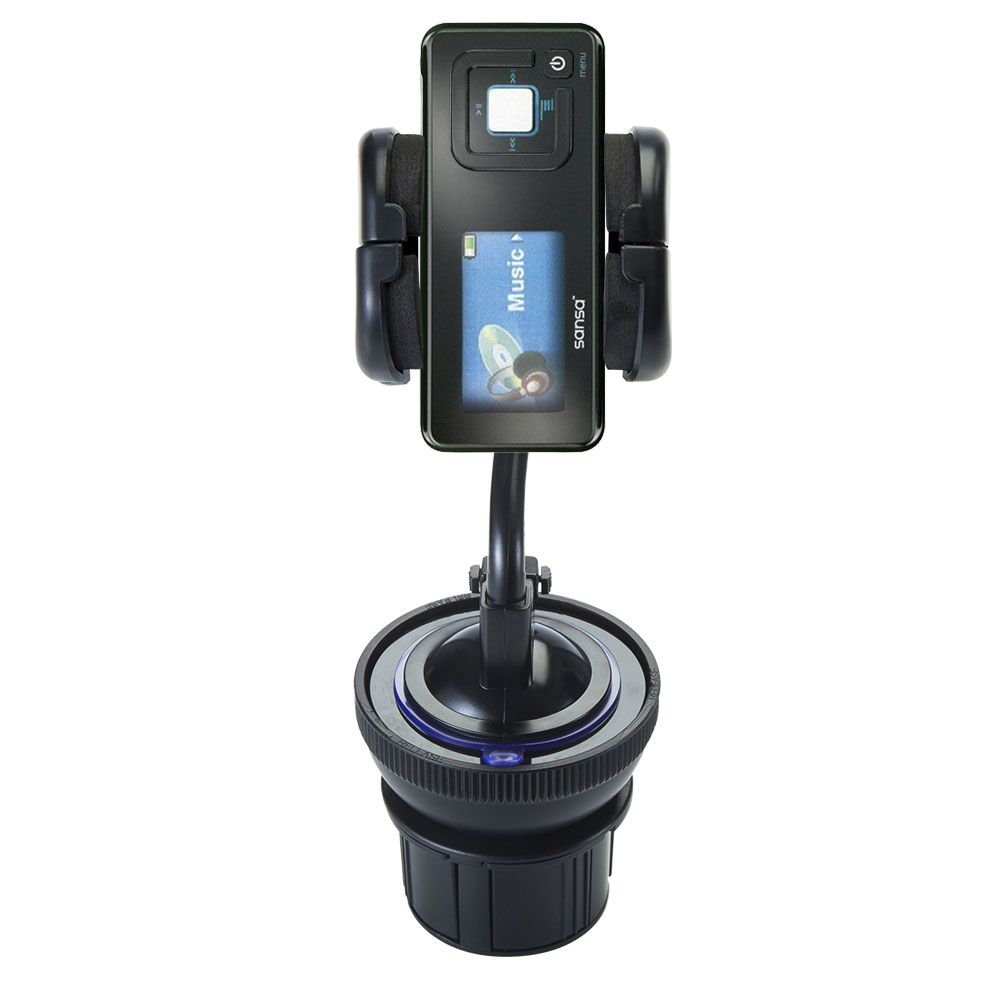 Unique Auto Cupholder and Suction Windshield Dual Purpose Mounting System for Sandisk Sansa c240 - Flexible Holder System Includes Two Mount Options