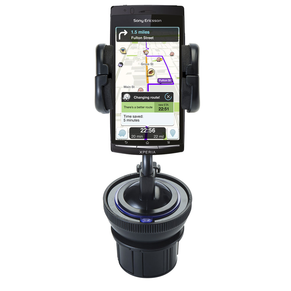 Unique Auto Cupholder and Suction Windshield Dual Purpose Mounting System for Sony Ericsson LT15i - Flexible Holder System Includes Two Mount Options