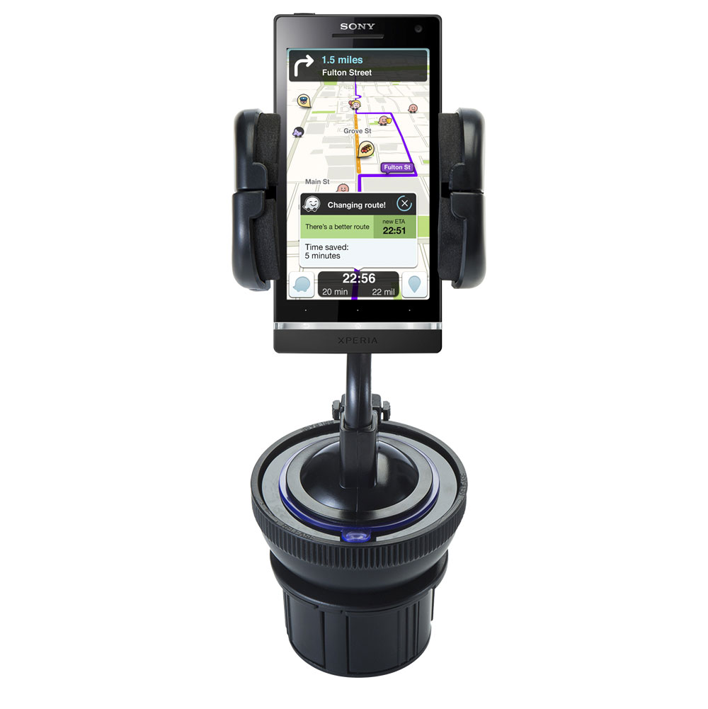 Unique Auto Cupholder and Suction Windshield Dual Purpose Mounting System for Sony Ericsson Xperia S - Flexible Holder System Includes Two Mount Options