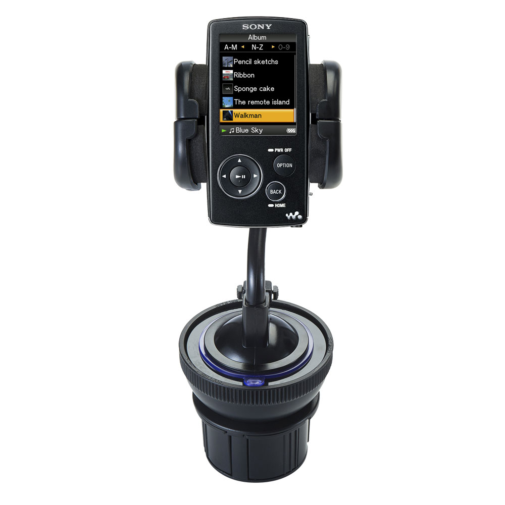 Unique Auto Cupholder and Suction Windshield Dual Purpose Mounting System for Sony Walkman NWZ-A805 - Flexible Holder System Includes Two Mount Options