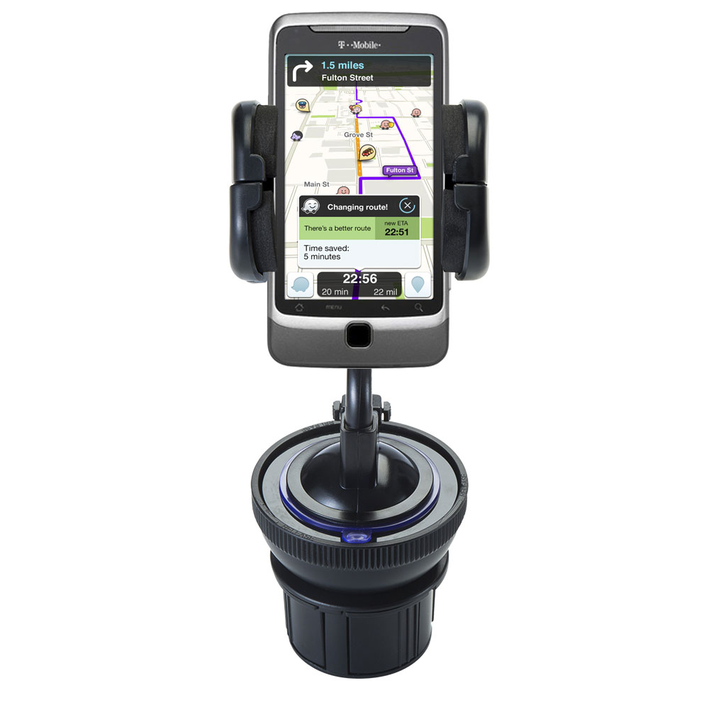 Unique Auto Cupholder and Suction Windshield Dual Purpose Mounting System for T-Mobile G2 - Flexible Holder System Includes Two Mount Options