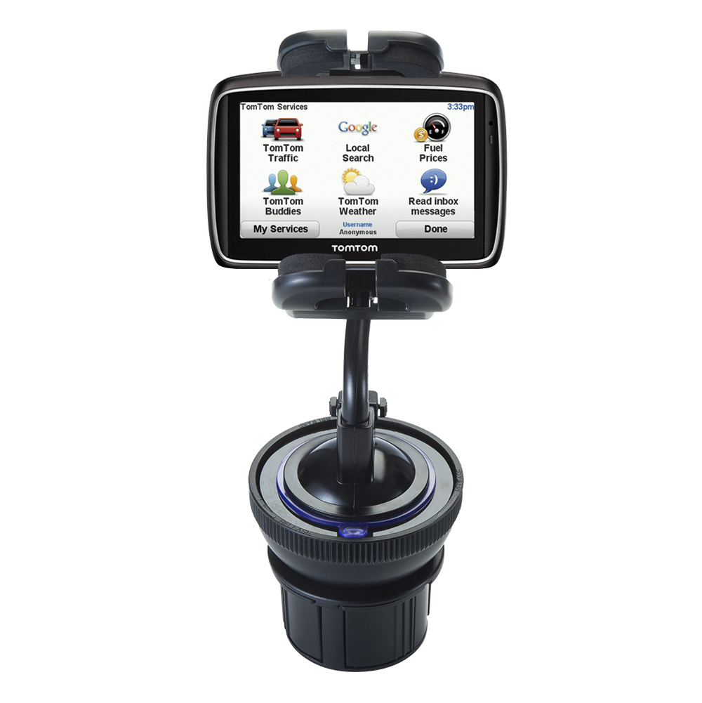 Unique Auto Cupholder and Suction Windshield Dual Purpose Mounting System for TomTom 740 - Flexible Holder System Includes Two Mount Options