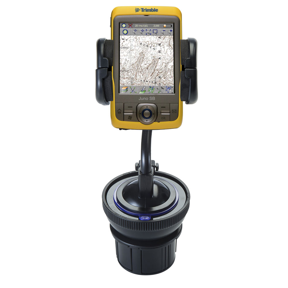 Unique Auto Cupholder and Suction Windshield Dual Purpose Mounting System for Trimble Juno SB - Flexible Holder System Includes Two Mount Options