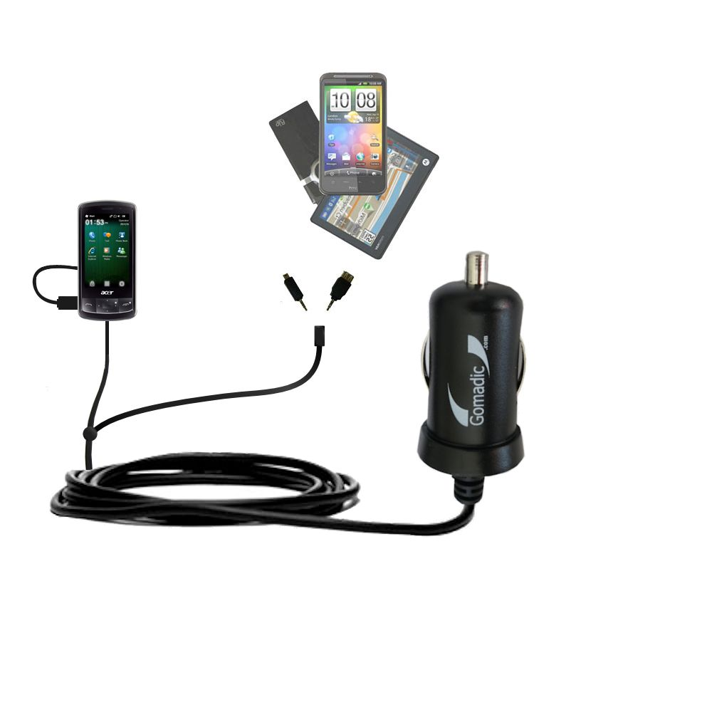 Double Port Micro Gomadic Car / Auto DC Charger suitable for the Acer beTouch E200 E210 - Charges up to 2 devices simultaneously with Gomadic TipExchange Technology