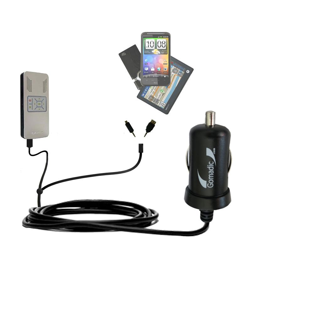 Double Port Micro Gomadic Car / Auto DC Charger suitable for the Aiptek PocketCinema v50 - Charges up to 2 devices simultaneously with Gomadic TipExchange Technology