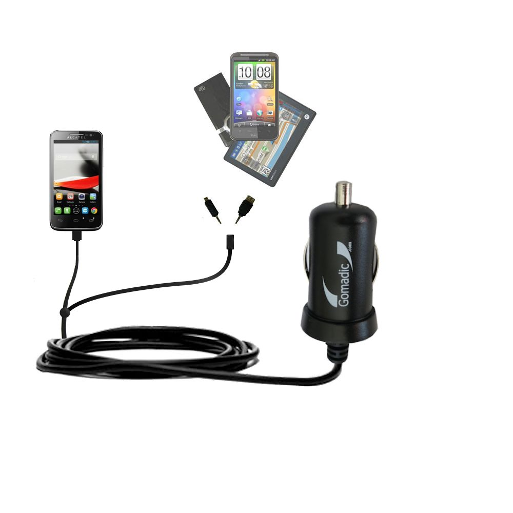 mini Double Car Charger with tips including compatible with the Alcatel One Touch Fierce