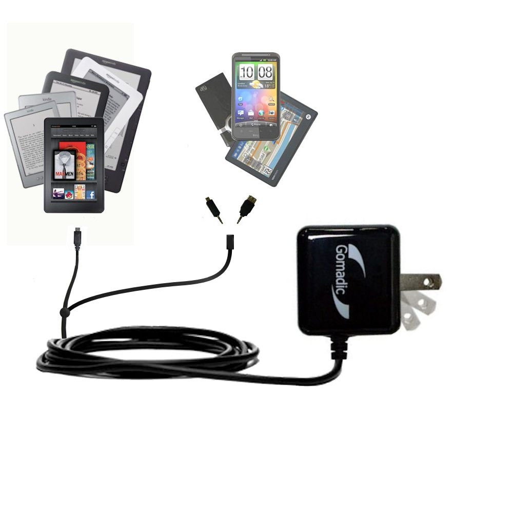 Double Wall Home Charger with tips including compatible with the Amazon Kindle Fire HD / HDX / DX / Touch / Keyboard / WiFi / 3G