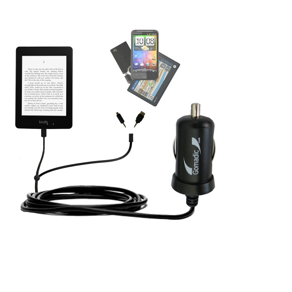 Double Port Micro Gomadic Car / Auto DC Charger suitable for the Amazon Kindle Paperwhite - Charges up to 2 devices simultaneously with Gomadic TipExchange Technology