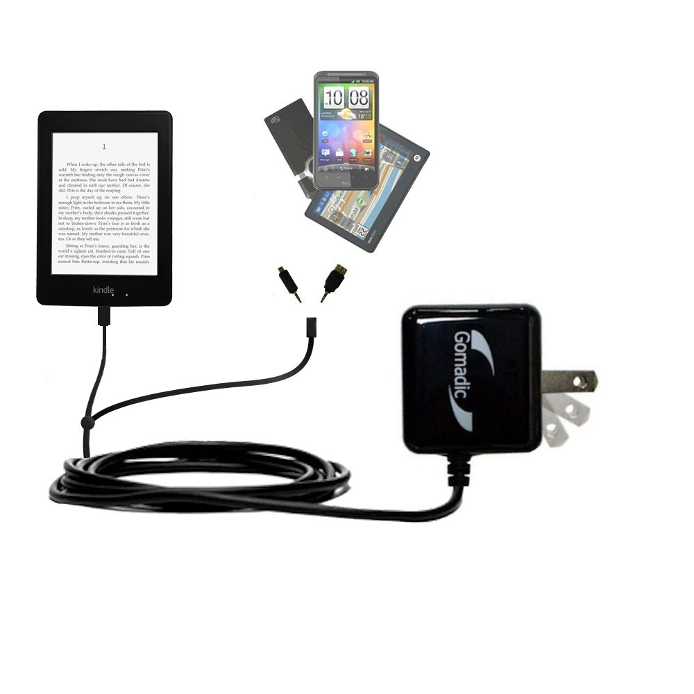 Gomadic Double Wall AC Home Charger suitable for the Amazon Kindle Paperwhite - Charge up to 2 devices at the same time with TipExchange Technology