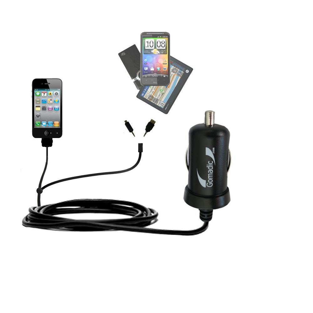 Double Port Micro Gomadic Car / Auto DC Charger suitable for the Apple iPhone - Charges up to 2 devices simultaneously with Gomadic TipExchange Technology