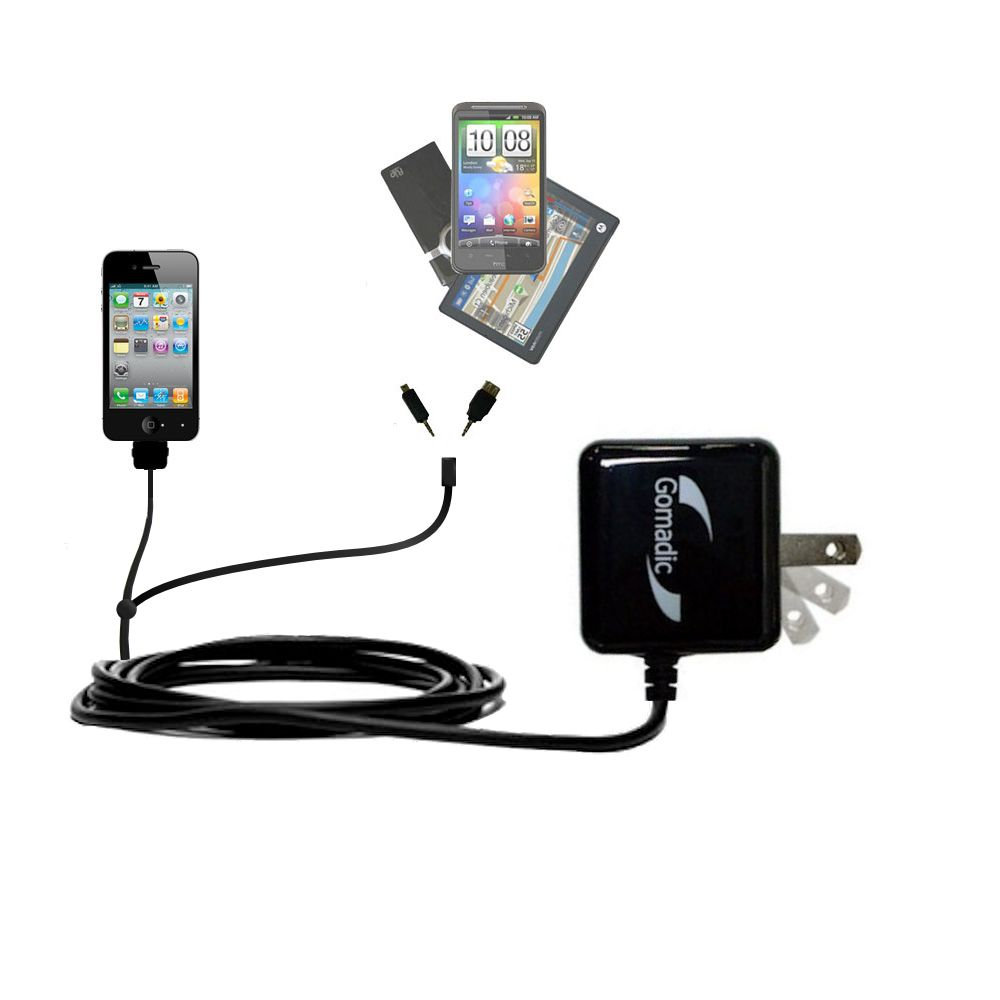 Gomadic Double Wall AC Home Charger suitable for the Apple iPhone - Charge up to 2 devices at the same time with TipExchange Technology