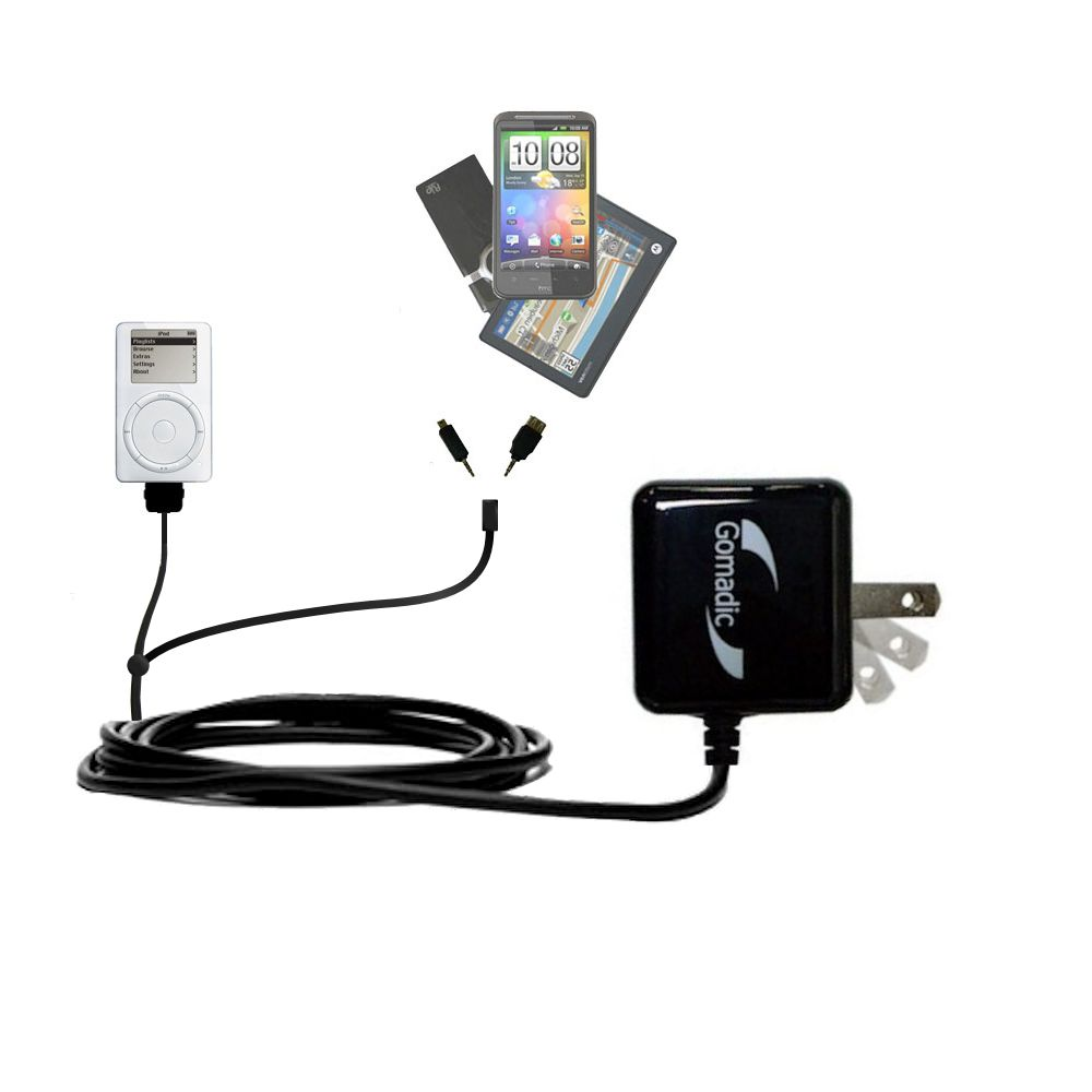 Gomadic Double Wall AC Home Charger suitable for the Apple iPod 4G (20GB) - Charge up to 2 devices at the same time with TipExchange Technology
