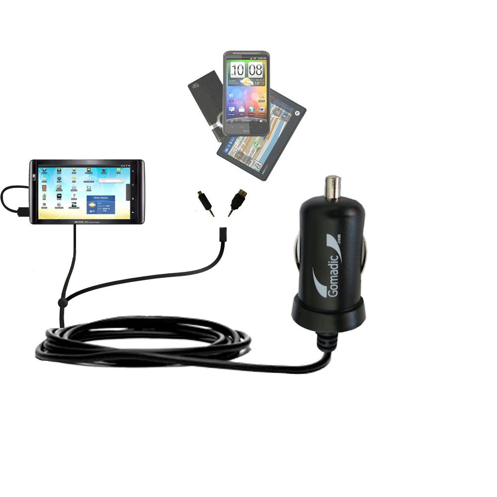 Double Port Micro Gomadic Car / Auto DC Charger suitable for the Archos 101 Internet Tablet - Charges up to 2 devices simultaneously with Gomadic TipExchange Technology