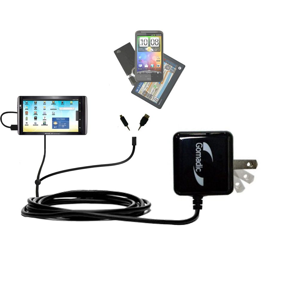 Gomadic Double Wall AC Home Charger suitable for the Archos 101 Internet Tablet - Charge up to 2 devices at the same time with TipExchange Technology