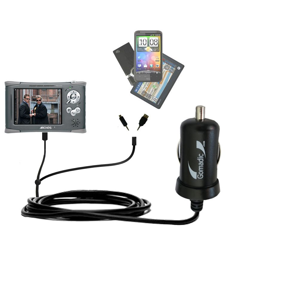 Double Port Micro Gomadic Car / Auto DC Charger suitable for the Archos PMA 400 - Charges up to 2 devices simultaneously with Gomadic TipExchange Technology