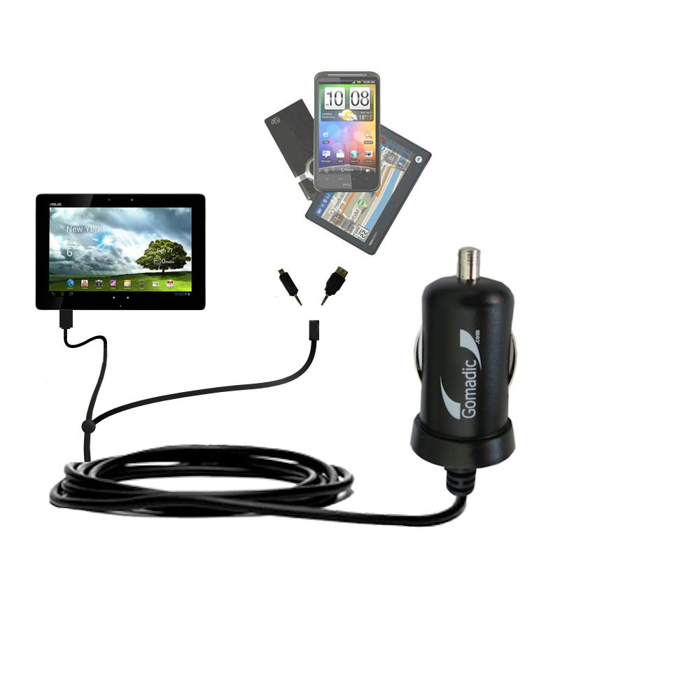 Double Port Micro Gomadic Car / Auto DC Charger suitable for the Asus MeMo Pad Smart 10 - Charges up to 2 devices simultaneously with Gomadic TipExchange Technology