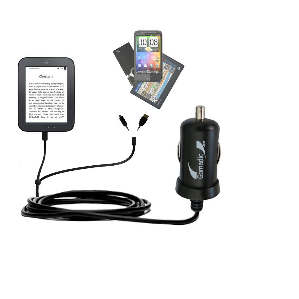 Double Port Micro Gomadic Car / Auto DC Charger suitable for the Barnes and Noble nook Original eBook eReader - Charges up to 2 devices simultaneously with Gomadic TipExchange Technology