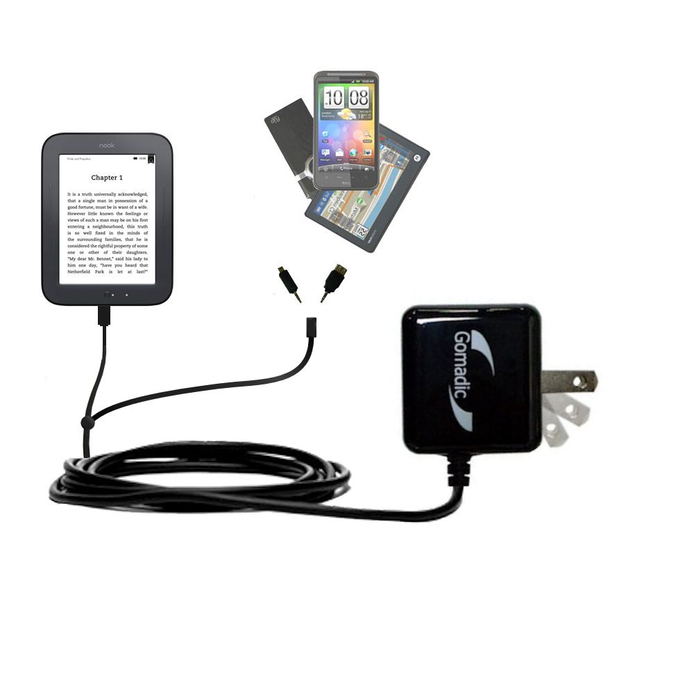 Gomadic Double Wall AC Home Charger suitable for the Barnes and Noble nook Original eBook eReader - Charge up to 2 devices at the same time with TipExchange Technology