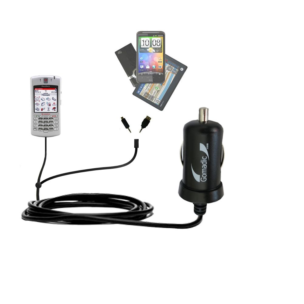 Double Port Micro Gomadic Car / Auto DC Charger suitable for the Blackberry 7100x - Charges up to 2 devices simultaneously with Gomadic TipExchange Technology