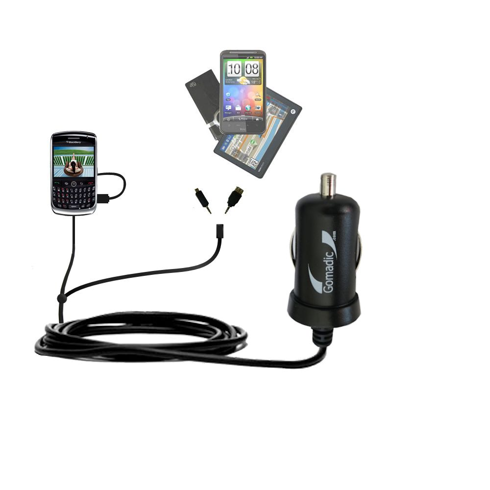 Double Port Micro Gomadic Car / Auto DC Charger suitable for the Blackberry 8900 - Charges up to 2 devices simultaneously with Gomadic TipExchange Technology