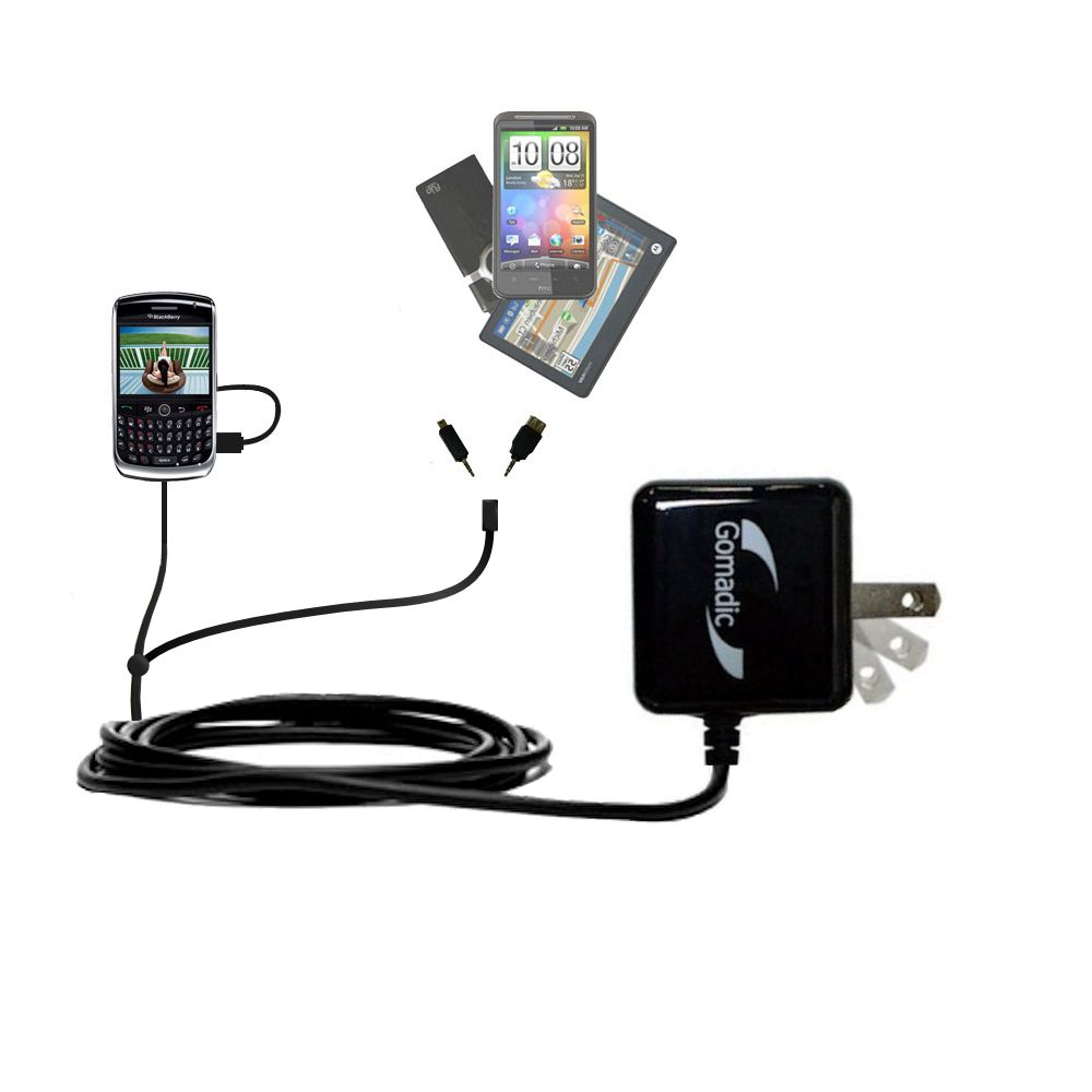 Gomadic Double Wall AC Home Charger suitable for the Blackberry 8900 - Charge up to 2 devices at the same time with TipExchange Technology