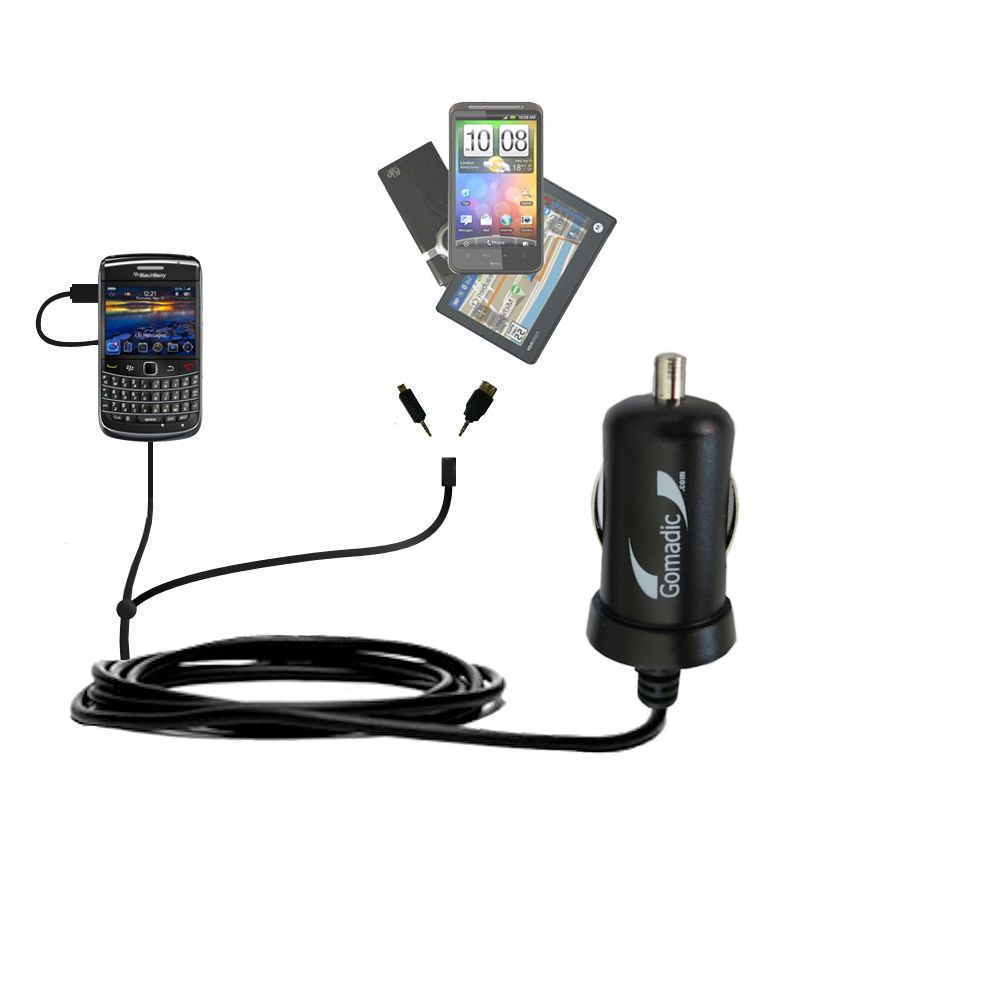 Double Port Micro Gomadic Car / Auto DC Charger suitable for the Blackberry Bold 9650 - Charges up to 2 devices simultaneously with Gomadic TipExchange Technology