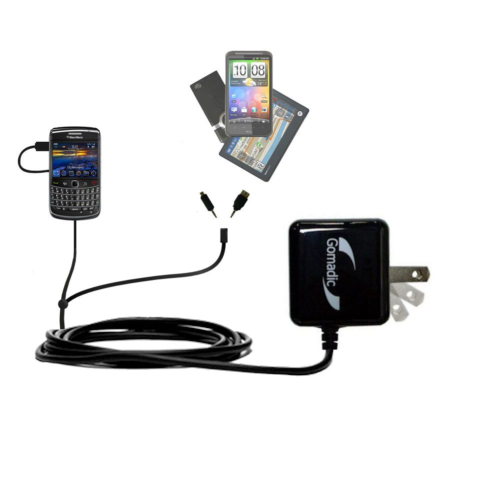 Gomadic Double Wall AC Home Charger suitable for the Blackberry Bold 9650 - Charge up to 2 devices at the same time with TipExchange Technology