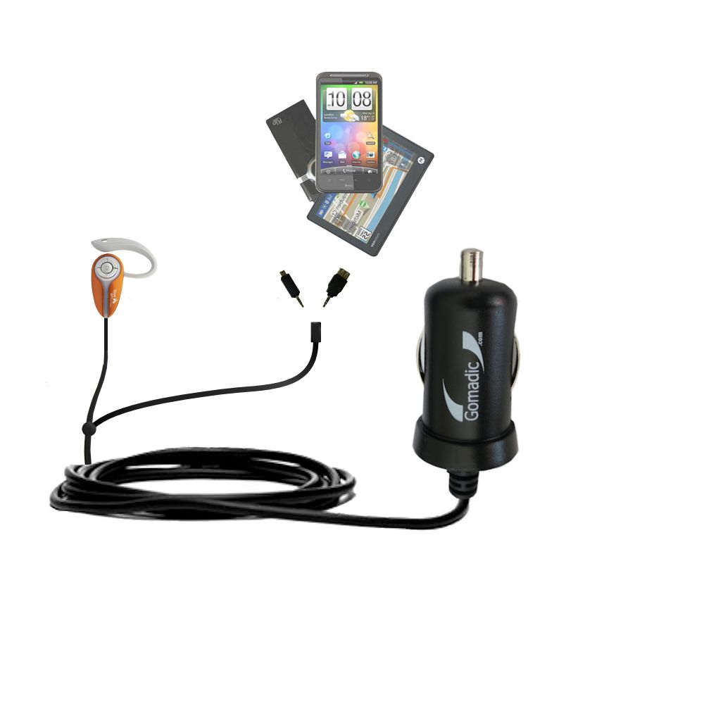 mini Double Car Charger with tips including compatible with the BlueAnt X3 micro