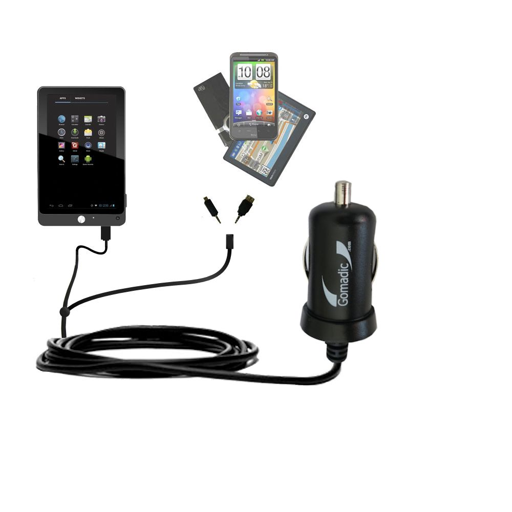 Double Port Micro Gomadic Car / Auto DC Charger suitable for the Coby Kyros MID7042 MID7048 - Charges up to 2 devices simultaneously with Gomadic TipExchange Technology
