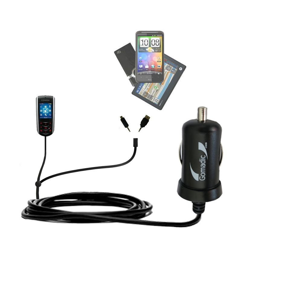 Double Port Micro Gomadic Car / Auto DC Charger suitable for the Cowon iAudio F2 - Charges up to 2 devices simultaneously with Gomadic TipExchange Technology