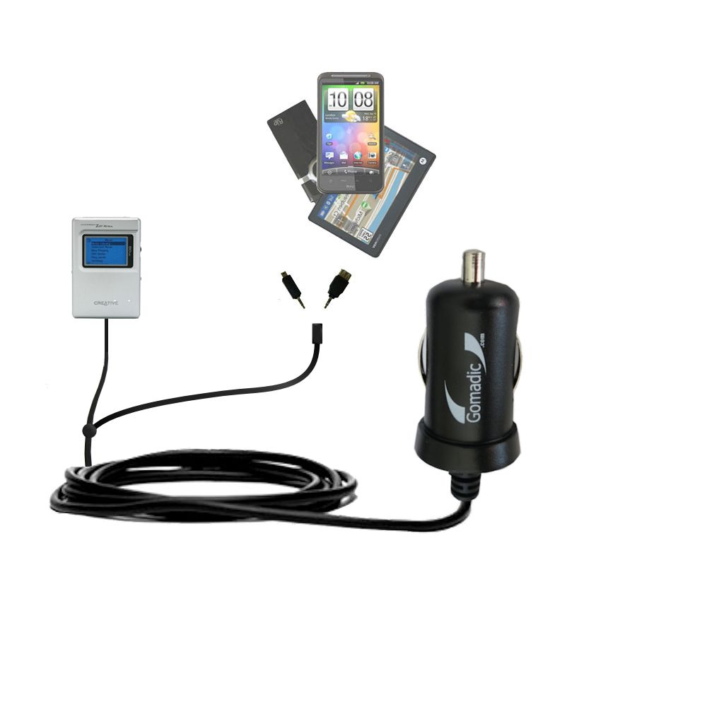 Double Port Micro Gomadic Car / Auto DC Charger suitable for the Creative Jukebox Zen NX - Charges up to 2 devices simultaneously with Gomadic TipExchange Technology