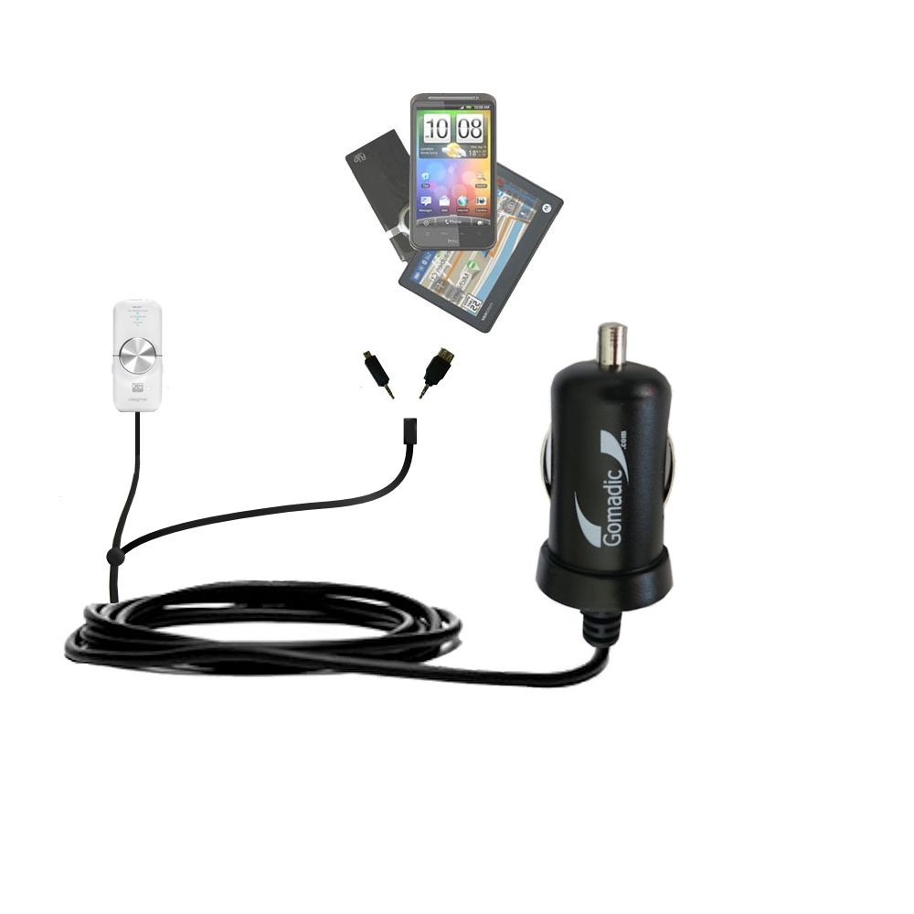 Double Port Micro Gomadic Car / Auto DC Charger suitable for the Creative xMod - Charges up to 2 devices simultaneously with Gomadic TipExchange Technology