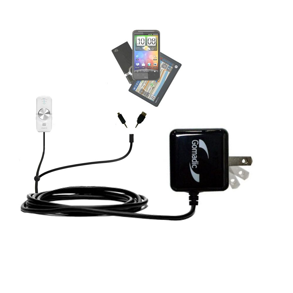 Gomadic Double Wall AC Home Charger suitable for the Creative xMod - Charge up to 2 devices at the same time with TipExchange Technology