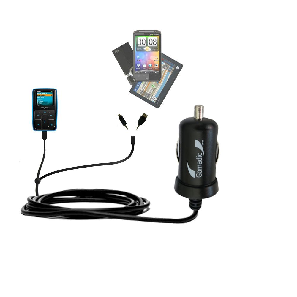Double Port Micro Gomadic Car / Auto DC Charger suitable for the Creative Zen Micro - Charges up to 2 devices simultaneously with Gomadic TipExchange Technology